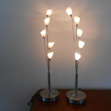 Jan des Bouvrie for Boxford Holland - set of two dimmable silver-coloured design table lamps with milk-glass shades
