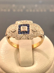 Pretty ring in gold, diamonds and Top Wesselton saphire - size 53 - 16.91 mm