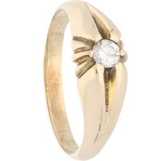 14 kt - Yellow gold ring set with a diamond of 0.25 ct - Ring size: 21.25 mm