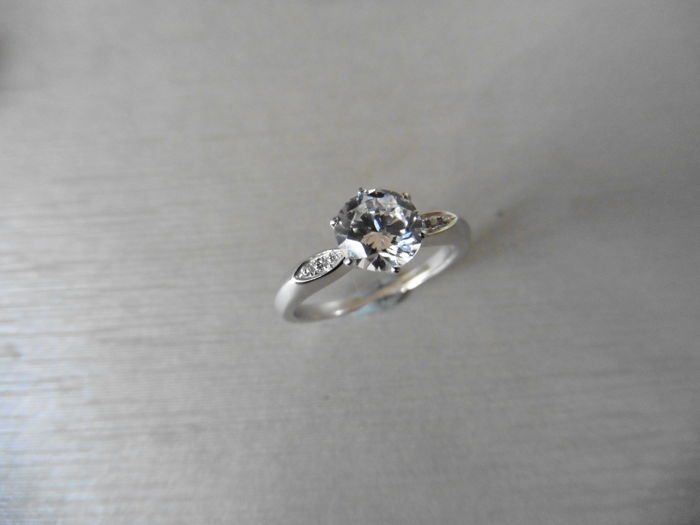 Platinum Diamond Set Solitaire Ring - 0.50ct / 0.02ct - size 52