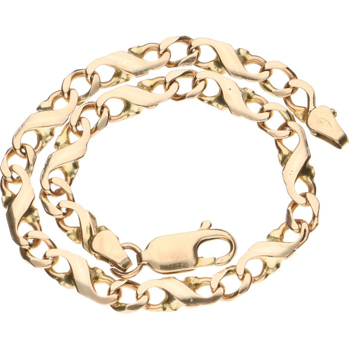 14 kt yellow gold tooled curb link bracelet - Length 20.5 cm