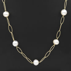 18 kt yellow gold – Choker with oval chain – Australian South Sea Pearls – Length: 66 cm
