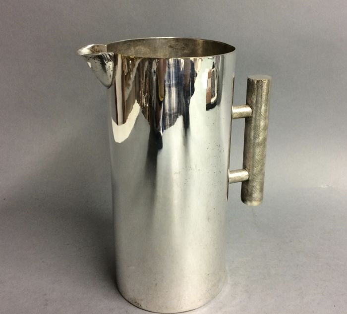 Silver plated water jug in sleek design, mid 20th century