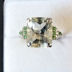 Very sought after cut, Genuine 6.16cts Barion cut Brazilian Green Amethyst & Green Tsavorite Garnet dress ring. Rare