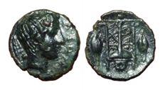 Greek Antiquity - Italy, Sicily, Leontini (405-402 BC) - Æ Uncia – Onkia (10,5mm; 0,63g.) - Head of Apollo / Tripod - CNS III, 4; HGC 2, 710 - Scarce