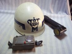 Lot of Royal military police gear, helmet and several flashlights.