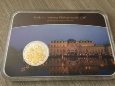 Austria - 1.50 Euro 2017 'Vienna Philharmonic' partial gold plated edition - 1 oz silver