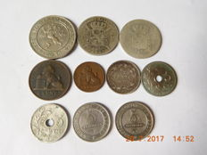 Belgium - 1 Centime up to 1 Franc, 1834/1907 (10 pieces) including silver