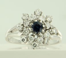 14 kt white gold entourage ring set with a central brilliant cut sapphire and an entourage of 16 brilliant cut diamonds, approx. 0.64 ct in total ****NO RESERVE PRICE****