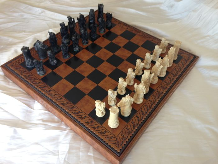 Great chess on wooden board with leather, 61 x 61