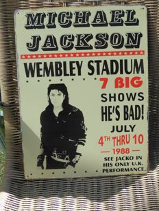 Two Stunning Michael Jackson - Metal Memorial Signs - Big Sign Michael Jackson At Wemblye Station And The King Of Pop Memorial Sign -