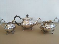 Three-piece tea set, teapot, milk jug and sugar bowl, silver plated, marked Albert Henry Thompson 1890