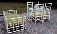 Home or patio furniture set in white lacquered rattan - Italy, 1960s