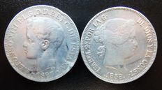 Spain – Lot of 2x coins – 1x 1 Peso Alfonso XIII 1897 Philippine Islands – 1x 20 Reales Isabel II 1858 Madrid.