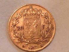 France – 20 Francs 1817 A (Paris) – Louis XVIII – Gold.