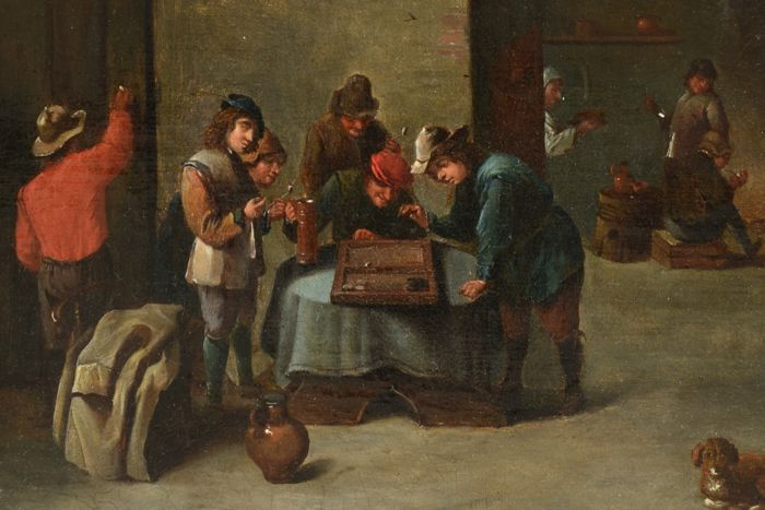 Follower of David Teniers the Younger - Tavern Scene with Backgammon Players