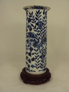 Roll vase decorated with dragons, excellent condition - China - 19th century
