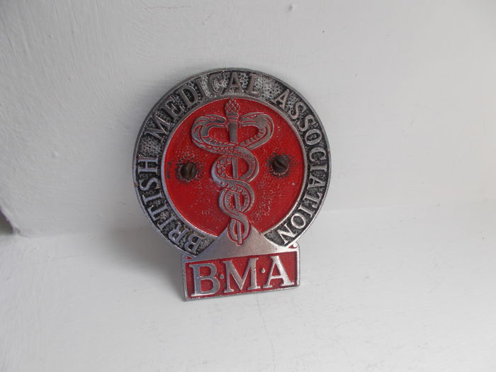 vintage B.M.A, BRITISH MEDICAL ASSOCIATION chrome car grille  badge with fixings all original un - restored