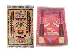 Pair of Amazing Afghan WAR DESIGN Hand Knotted Area Rug 85 cm x 58 cm, 78 cm x 58 cm