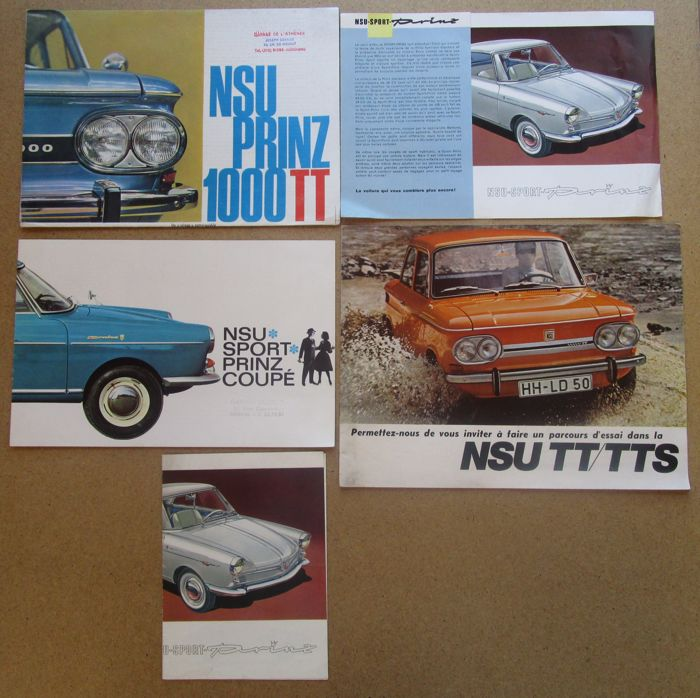NSU - lot of 5 brochures TT, TTS, PRINZ COUPE - ca. 1960