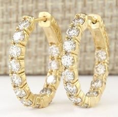 CERTIFIED 3.25 Carat Diamond 14K Solid Yellow Gold Hoop Earrings *** Free Shipping *** No Reserve ***