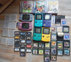 Large lot 6 gameboys  (4 color ad 2 advance) incl 40 games