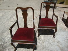 A pair of armchairs with velvet drop in seats, first half 20th century