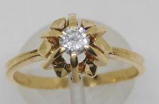 18 kt yellow gold ring with a diamond of 0.20 ct