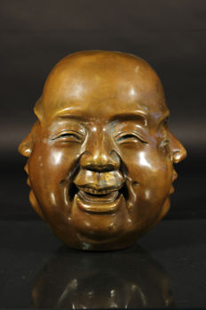 Large bronze Buddha head with 4 faces - China - late 20th century