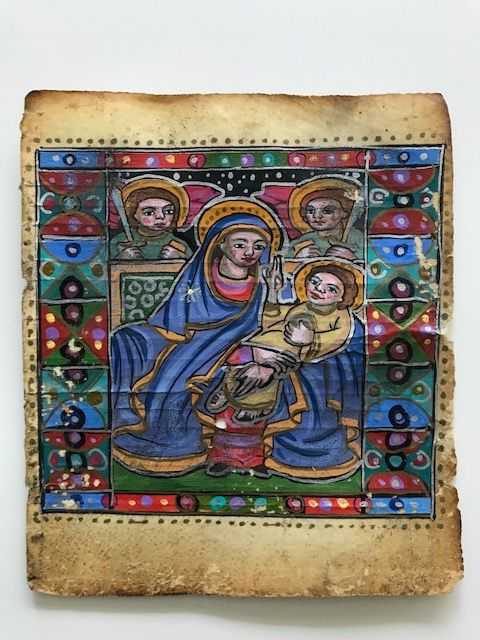 Very Old Rare handpainted Ethiopian Coptic Icon and Manuscript leaf - more then 200 years.