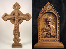 Cross carved orthodox wooden on the stand + Carved icon of St. Nicholas the Wonderworker - Beech - Ukraine - 21 century