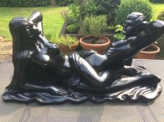 Garden decoration; statue of naked man and woman - 21st century