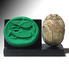 Large Steatite Scarab Plaque with Ibex and Crocodile, 3.2 cm L
