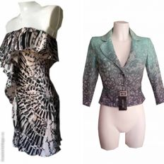 Lot of 2 – Patrizia Pepe – silk dress above the knee, and jacket with belt – never worn