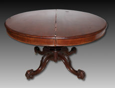 Victorian solid mahogany dining table - England, late 19th century