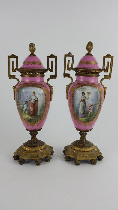 Pair of 19th Century Serves style Porcelain and Gilt Bronze Vases