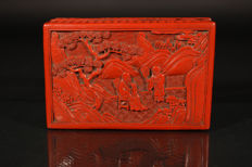 Cinnabar lacquer box with scenery of philosopher and servant - China - Around 1900