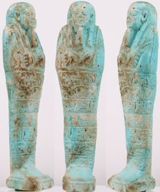 Big Egyptian faience Ushabti for the Anch-Hor - ca. 16,5 cm a. 6,9 inches