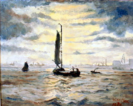 "H. de Mol, (20th century) - ""Zeilschepen op open water"""