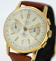 Cauny - Vintage gold plated swiss manual winding chronograph wristwatch, Circa.1960's