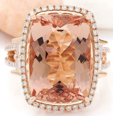 **No Reserve**-Exclusive-15.12carat Natural Morganite And Diamond Ring In 18K Rose Gold