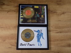 "David Bowie "" Ashes To Ashes "" &  "" Ziggy Stardust "" framed 7"" gold discs."