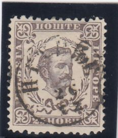 Montenegro 1879 - NIkola I. II print with unusual perforation 13 x 12 1/2 with certificate.