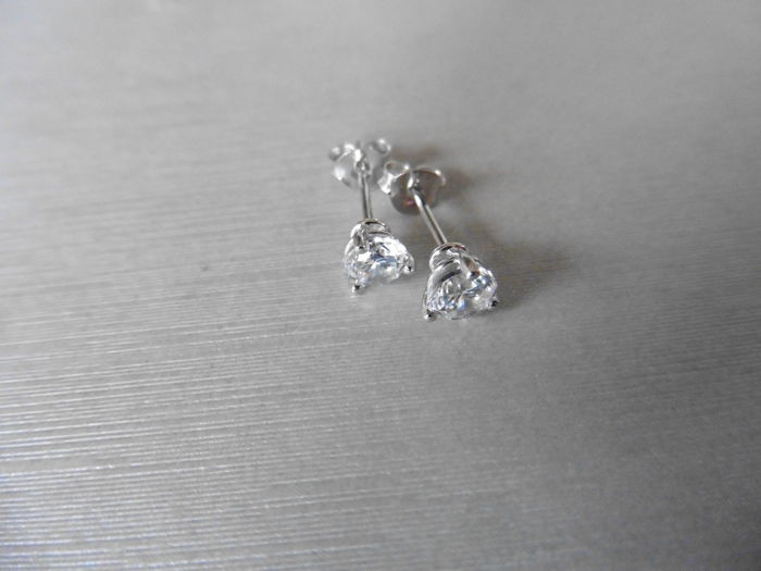 Platinum Diamond Solitaire Earrings - 0.75ct