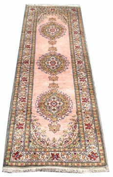 20th Century Turkish Kesary Silk Hand Knotted Runner Carpet Rug 192 cm x 61 cm
