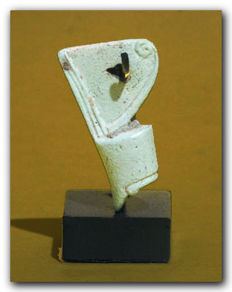 Egyptian Faience Amulet of the Royal Crown, 3.8 cm L