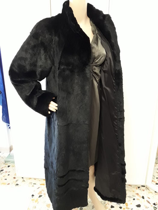 Rex rabbit fur coat Long women's coat.