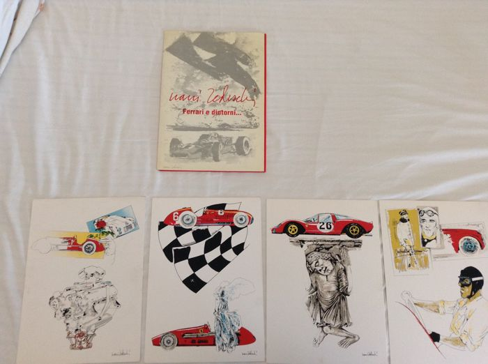 Lot of 4 lithographs: Nani Tedeschi - Ferrari e dintorni