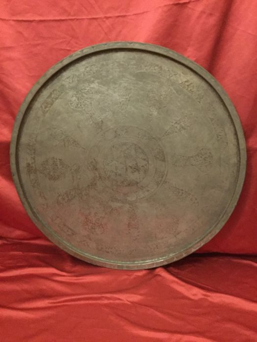 Large Ottoman Empire plate in silver-plated copper -- Constantinople -- 18th century