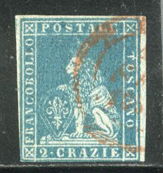 Toscana 1852 – 2 cr. light blue on grey – Sass. N. 5